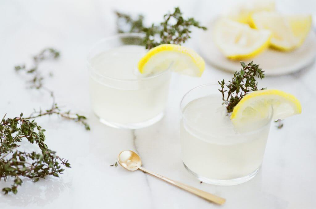 Brunch cocktails with lemon and rosemary