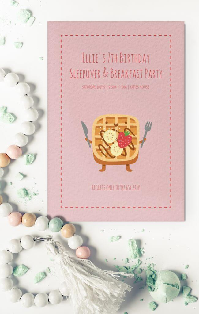 girls sleepover invitation
