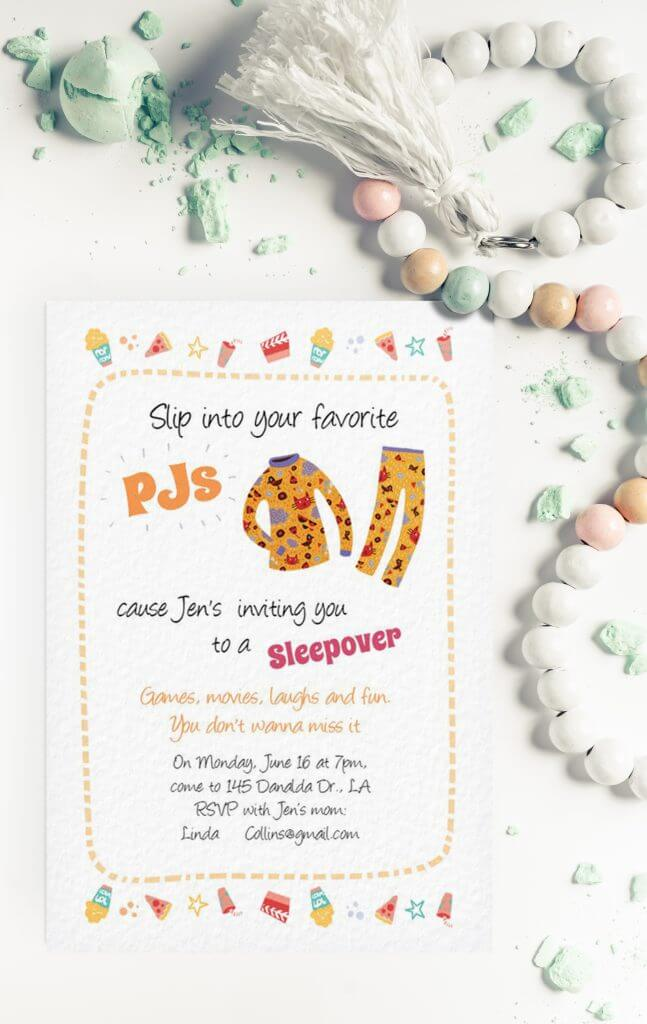 pajama party invitation design