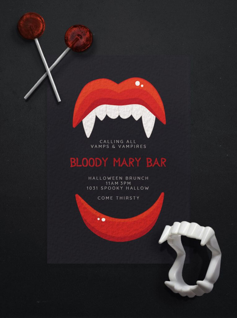 Bloody Mary Halloween party invitation design