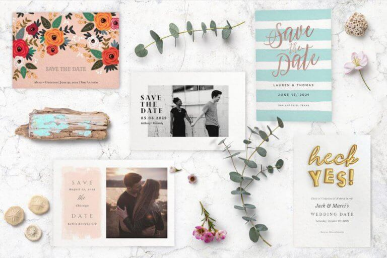 Save the date card collage