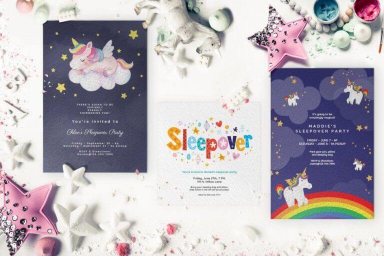 Kid sleepover invitation cards