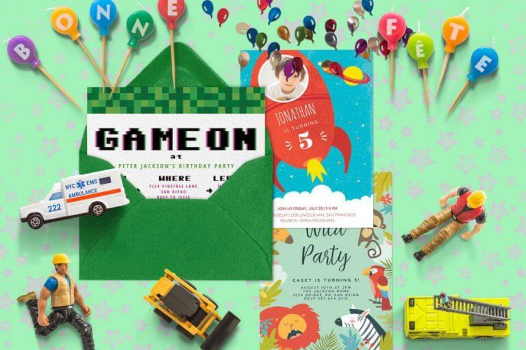 Boys birthday party invitations inspiration