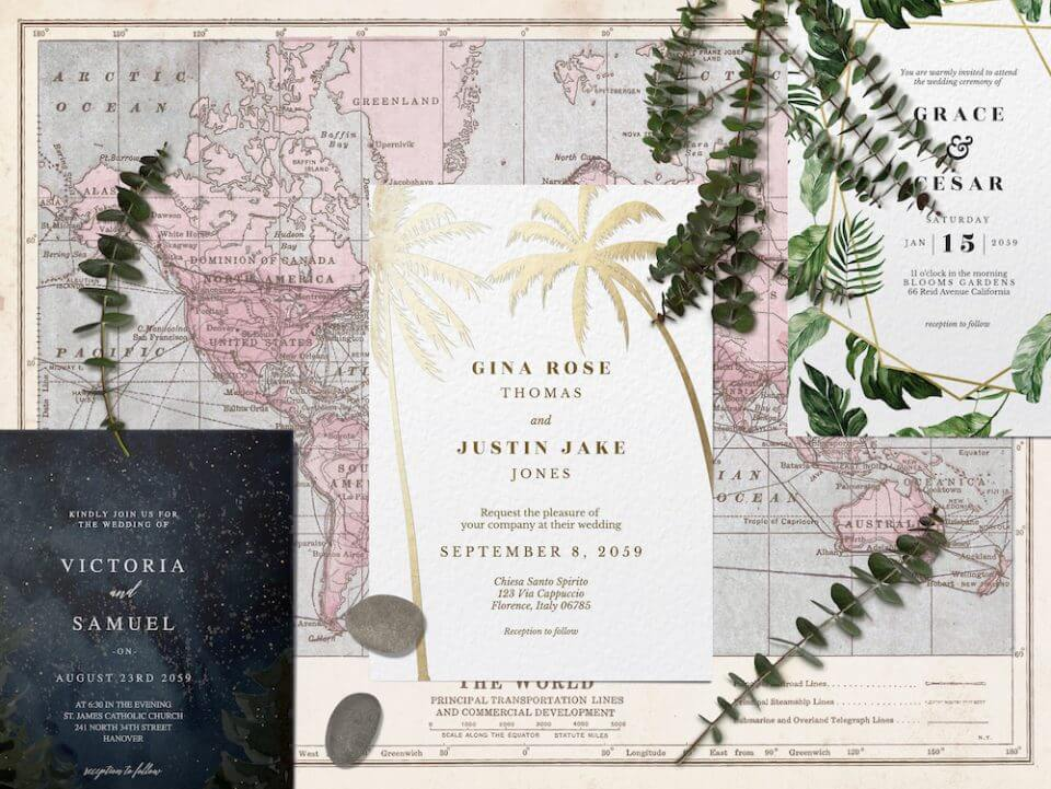 Destination wedding invitation designs