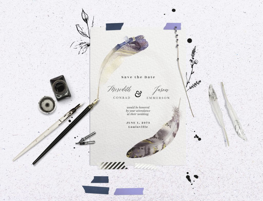 Boho feathers wedding invitation idea