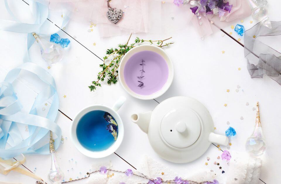 Cup of colorful tea for girls birthday