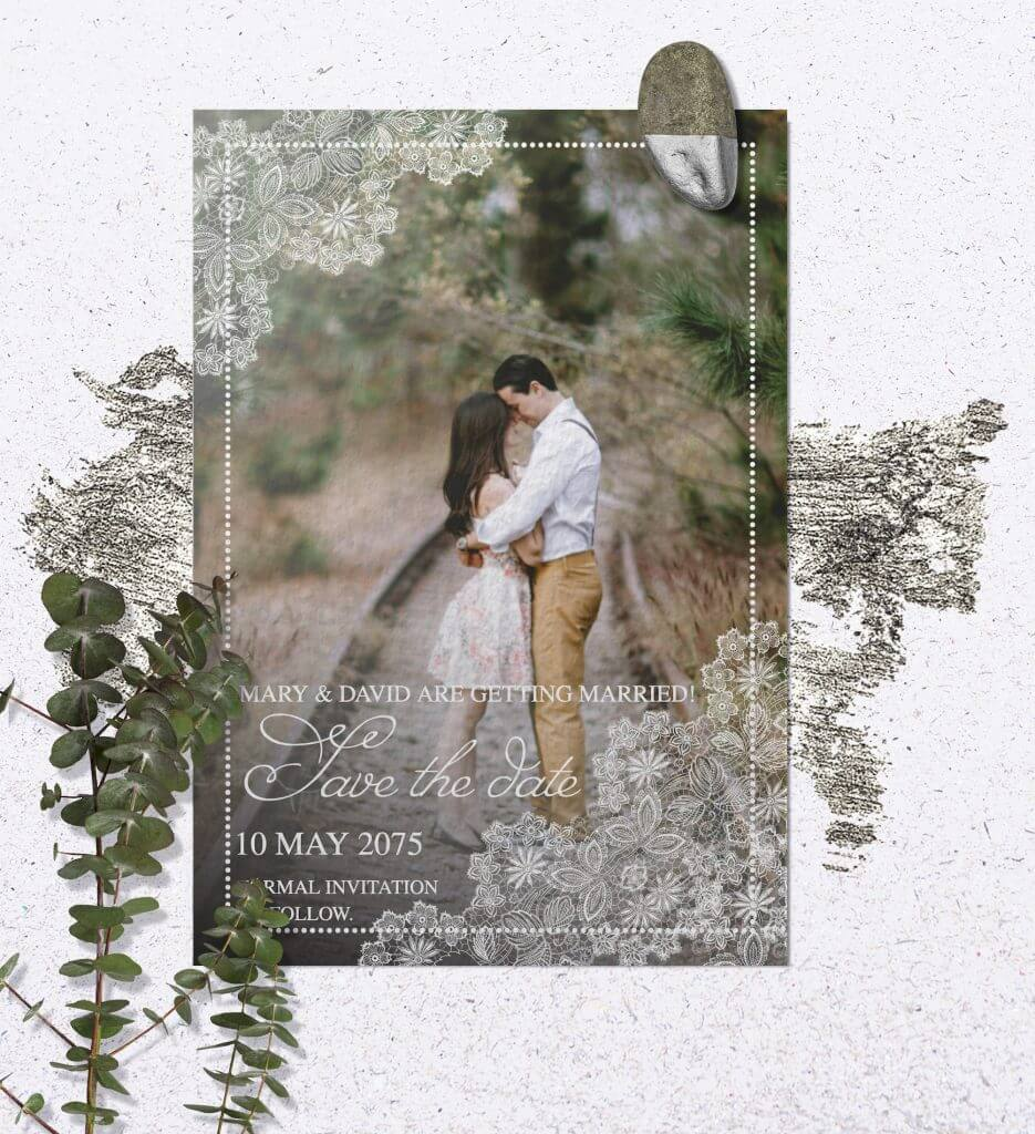 example of save the date wedding card