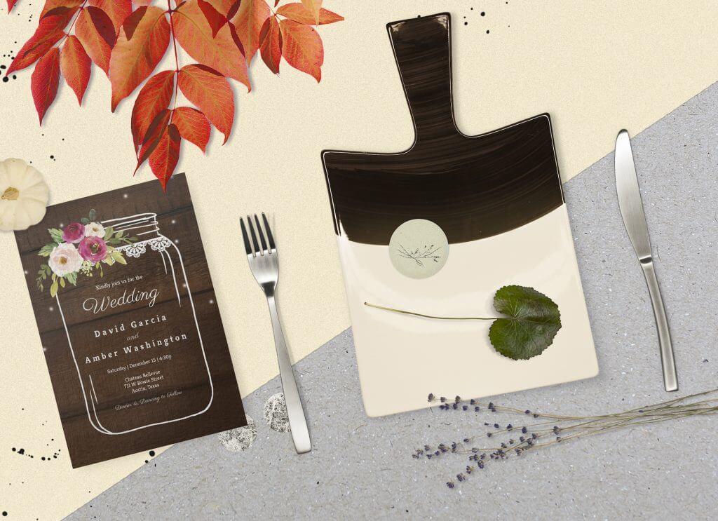 Mason jar rustic Wedding invitation & dinner plate set