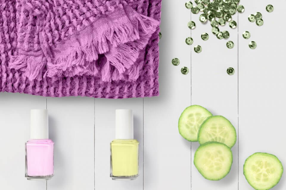 Nail polish and cucumbers for spa parties