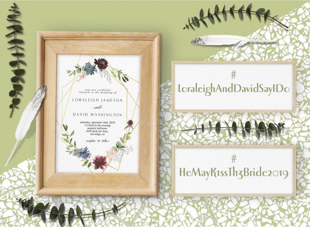 Example wedding hashtags and wedding invitation