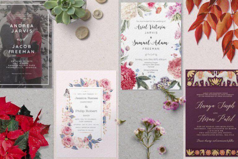 Seasonal wedding invitations