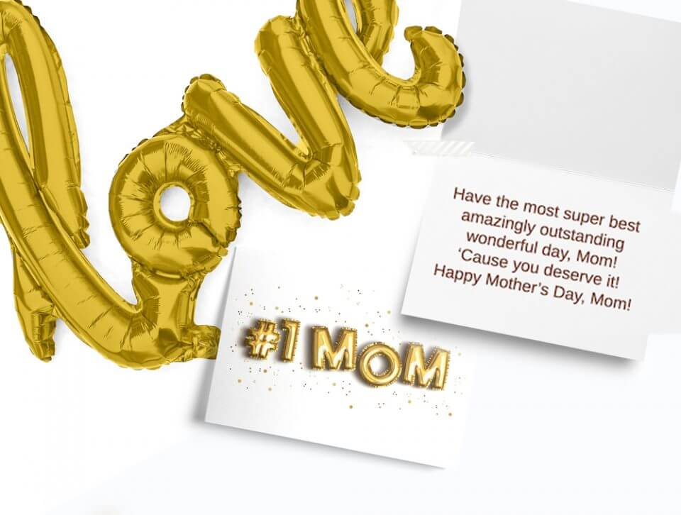number 1 mom love balloons card