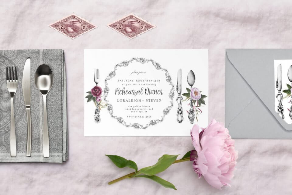 Dinnerware & dinner invitation