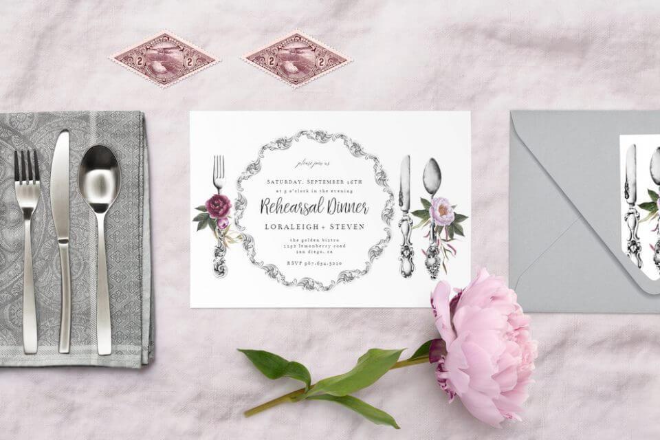 Dinnerware & dinner invitation