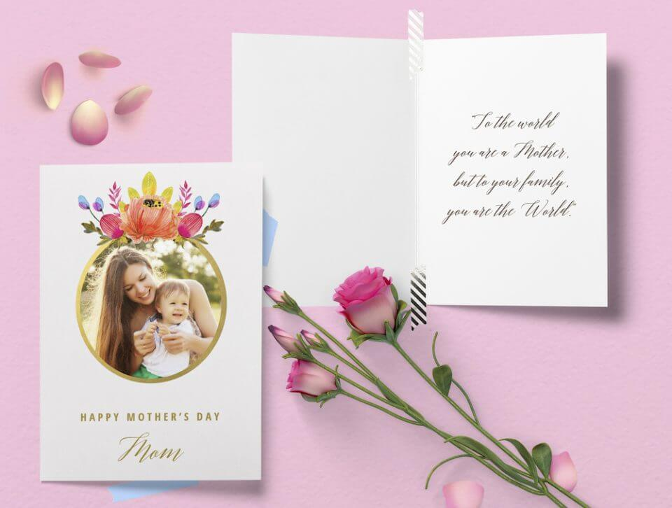 Floral photo Mother's day card messages write to mom