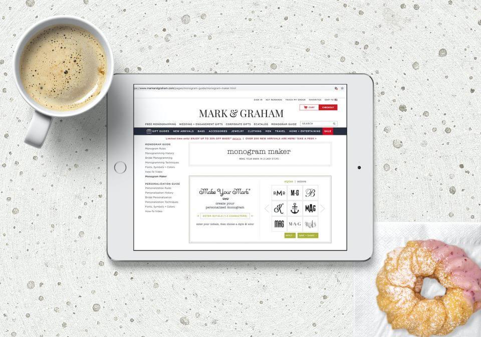 mark & graham monogram website on ipad