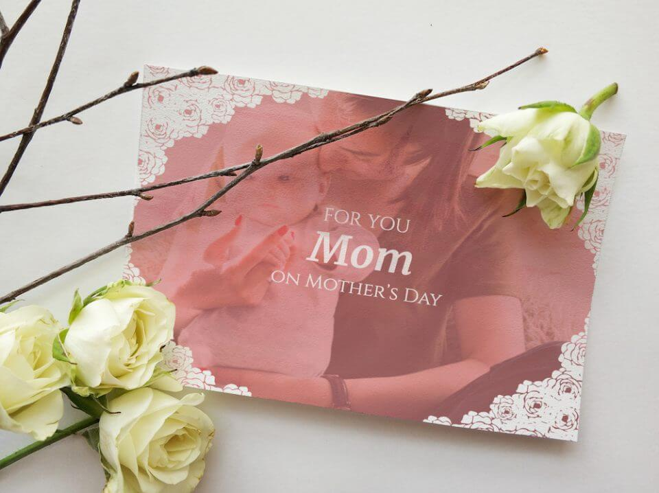 Mother's day lace photo card message for new mom