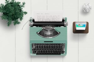 Typewriter with thank you letter