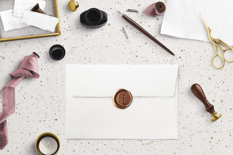 Wedding invitation envelope sealed with wax