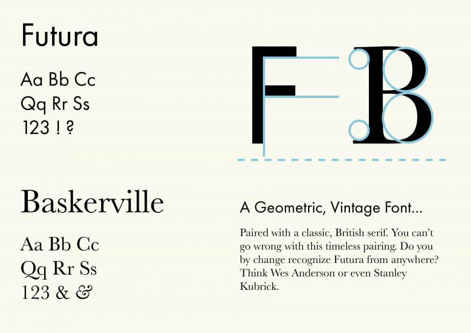 Futura & Baskerville font pairing