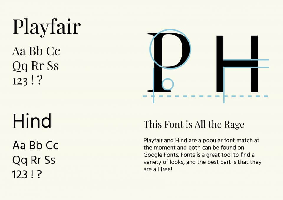 Playfair & Hind font pairing