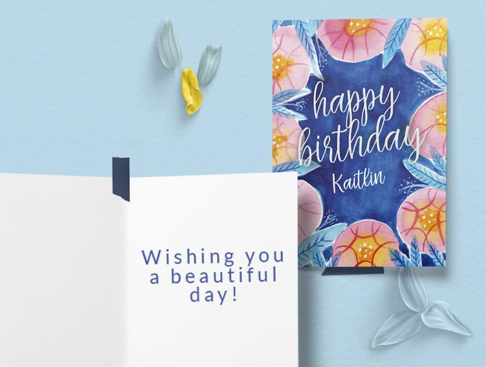 blue floral watercolor Birthday Wishes & Card Messages For Everyone