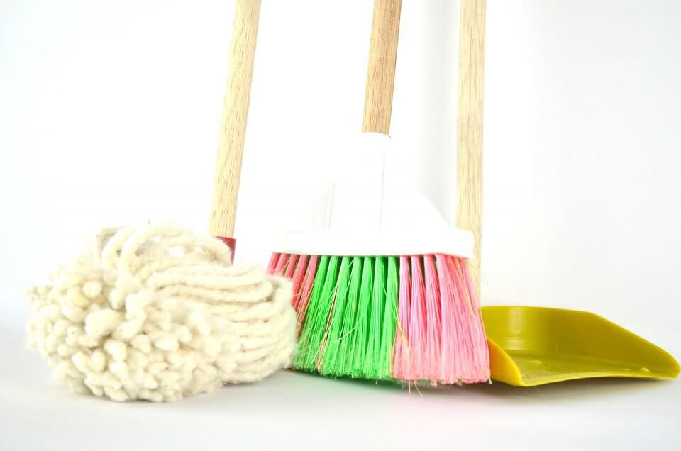 Mop, sweeper, shovel