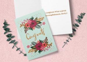 'Congrats' floral card