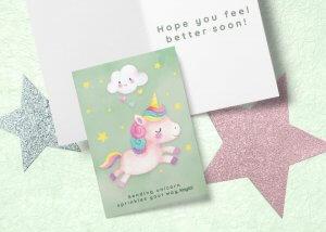 Unicorn get well card