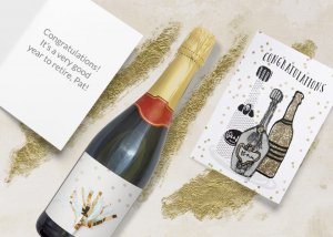 Retirement congratulations card & a bottle of Champagne