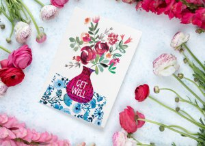 Vase and flowers get well card