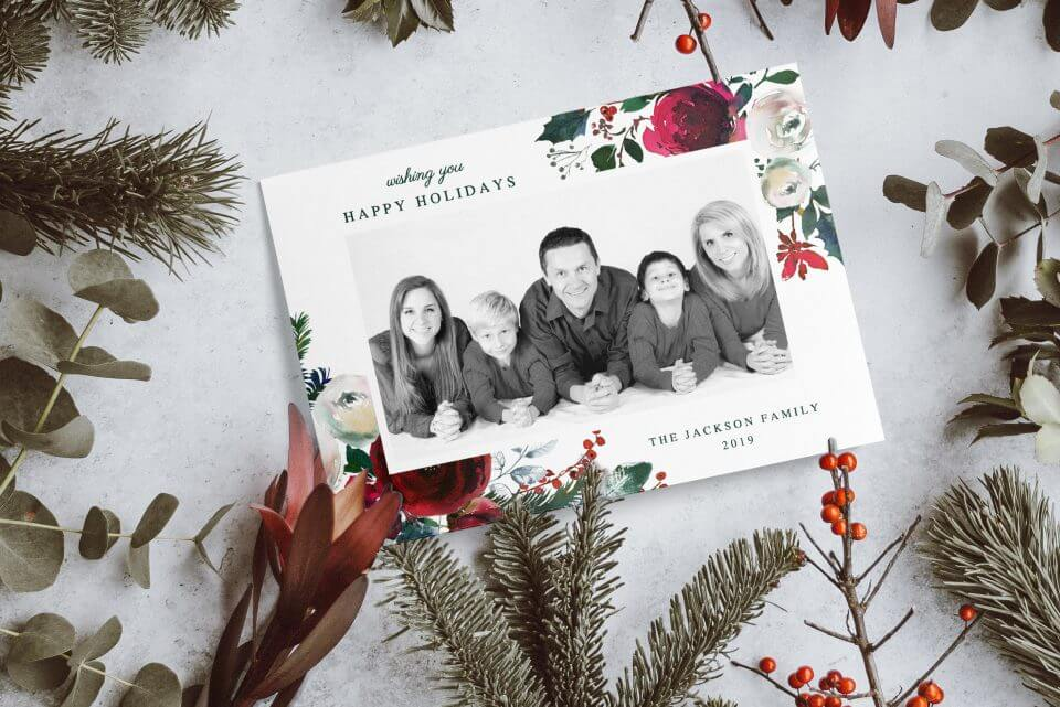 Floral Christmas photo card