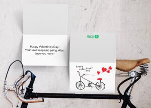 Bicycle and hearts Valentine's day card