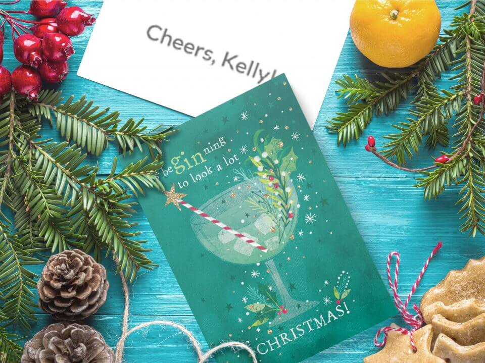 A glass of gin funny Christmas card