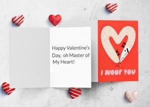 Heart shaped dog love card