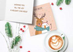 Deer and snowman Christmas card