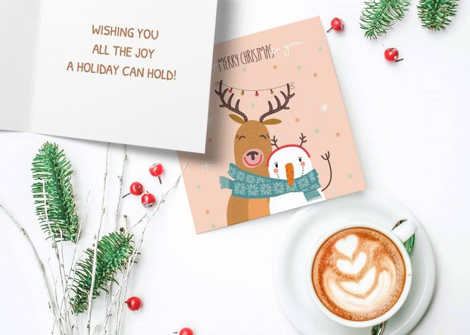 Deer and snowman Christmas card