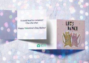 Dancing animals love card