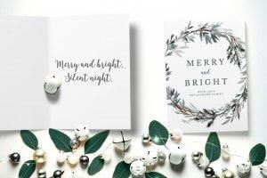 Merry & Bright wreath Christmas card