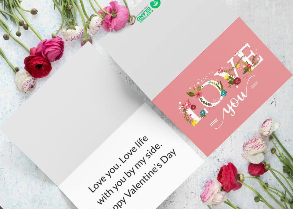 Floral lettering love card