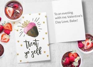 Treat yo' self Valentine's dat card