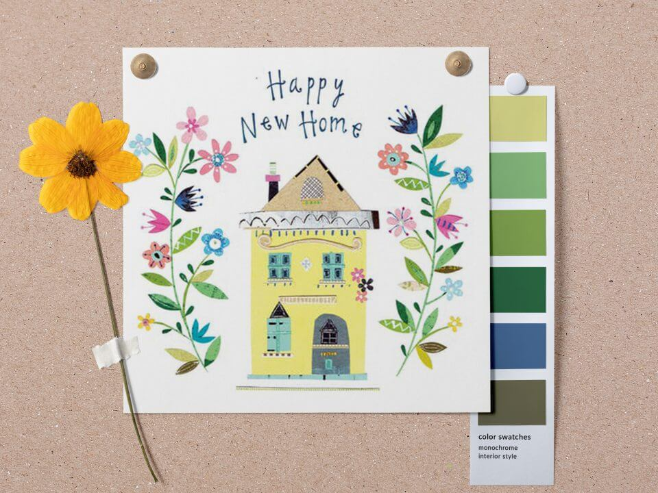 Happy New Home & Housewarming Wishes & Quotes hand drawn home card