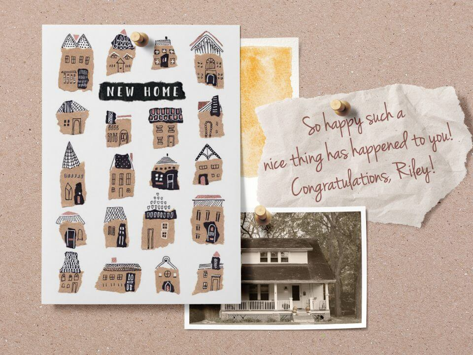 Happy New Home & Housewarming Wishes & Quotes paper houses card