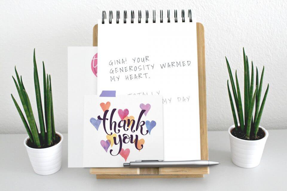 watercolor hearts thank you card General Gratitude & Appreciation