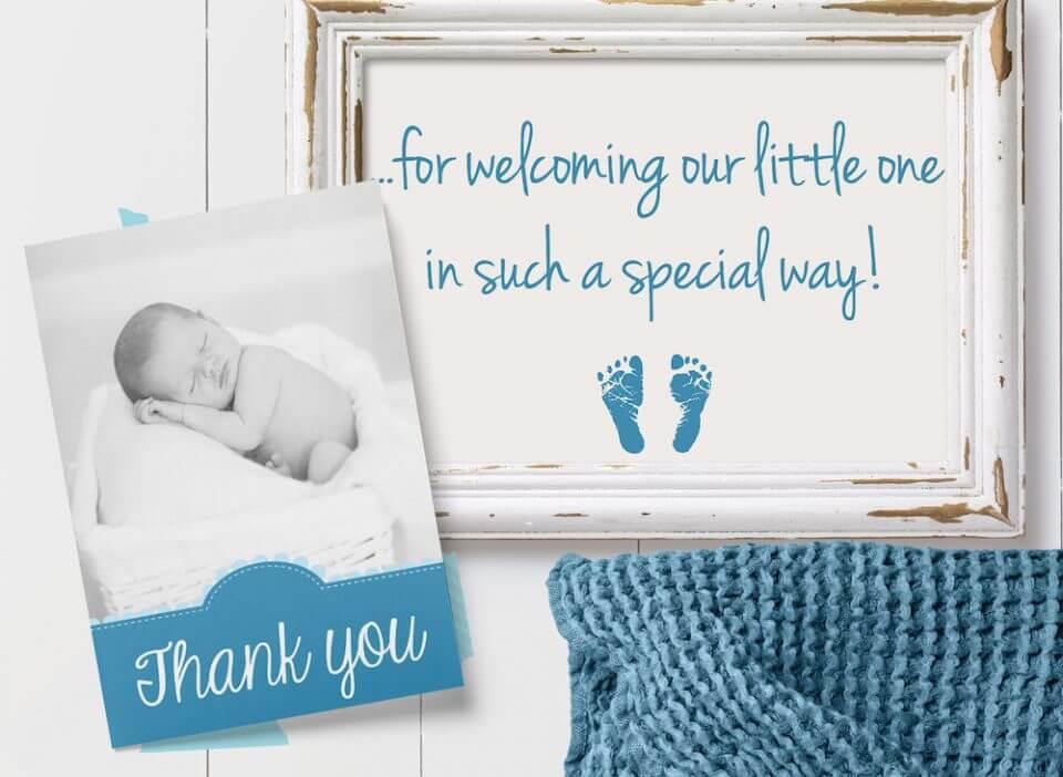 photo card baby boy thank you card message