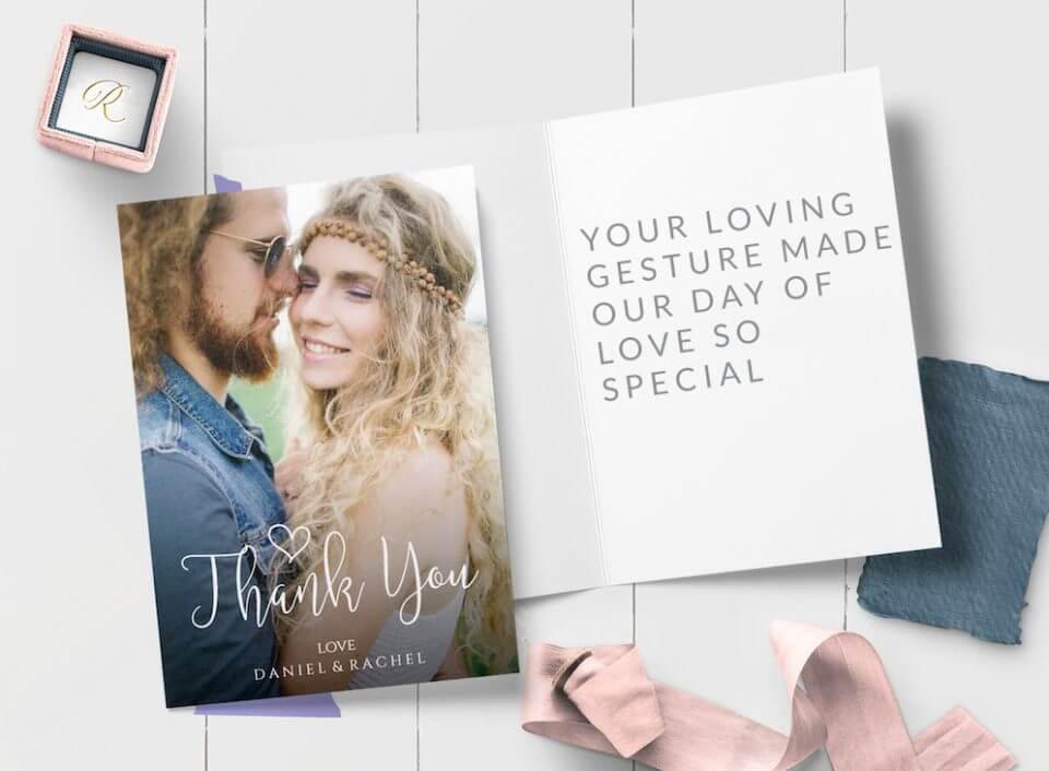 photo card hand written script Wedding Thank You Card