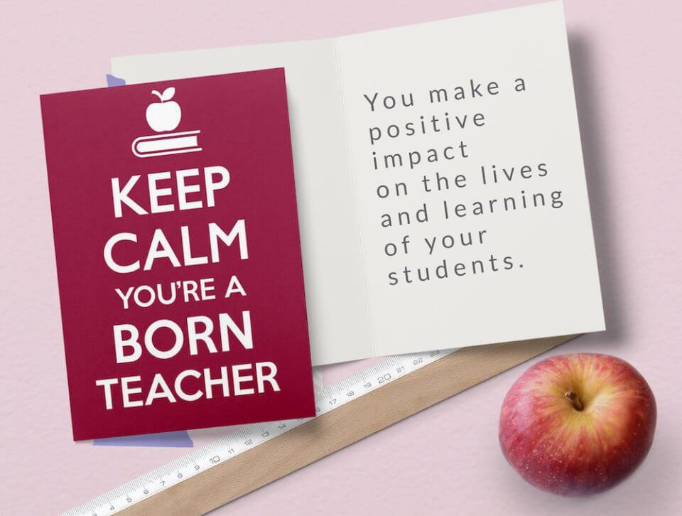 keep calm and carry on for teachers thank you card educators
