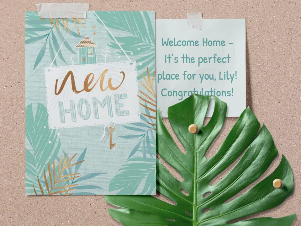 75+ Happy New Home & Housewarming Wishes & Quotes tropical leaves card