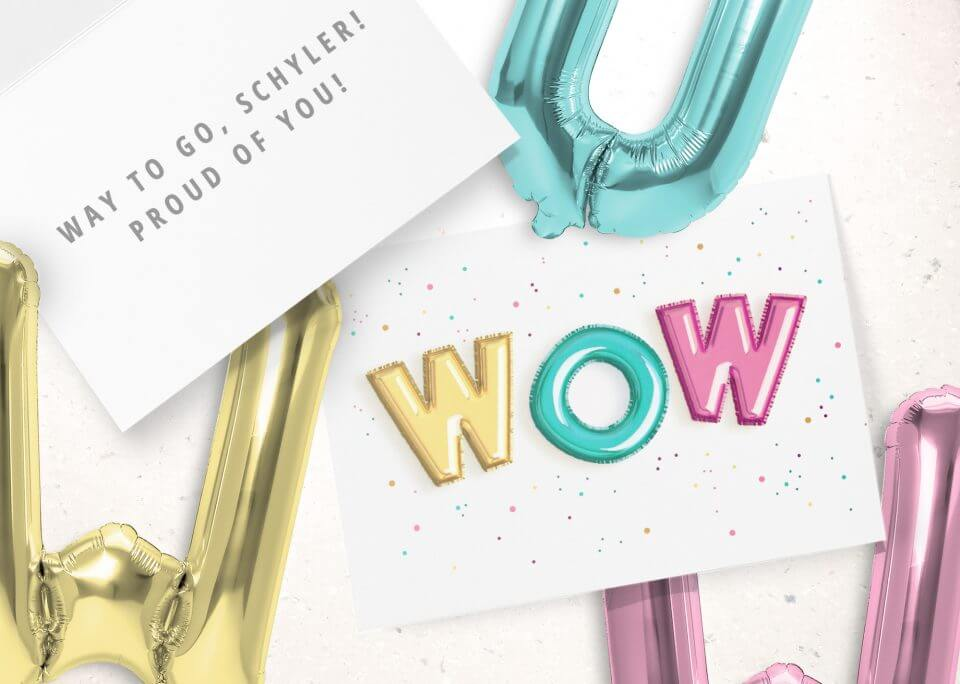 """""""wow"""" card 50 Congratulations Wishes & Quotes balloon letters"""