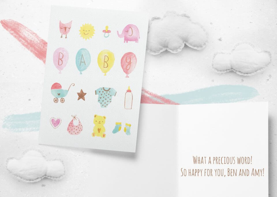50 Congratulations Wishes & Quotes baby watercolor card